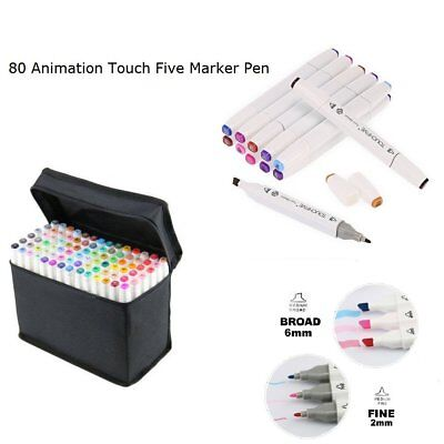 UK Set of 80 Colour Marker Pen Twin Tip Touch New Graphic Art Sketch Broad Fine