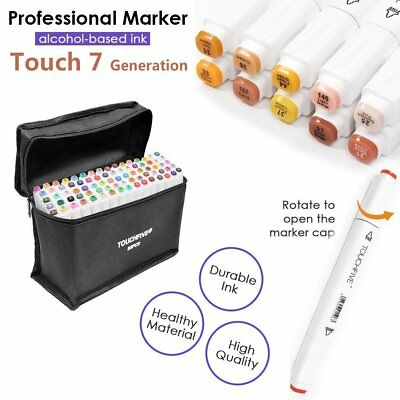 80 Colour Set Marker Pen Touch New Graphic Art Five Sketch Twin Tips Free Glove