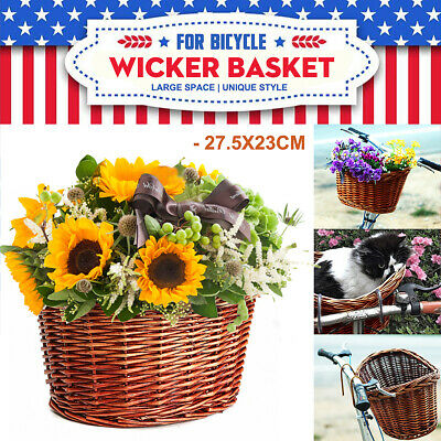 Wicker Bicycle Front Picnic Basket Bike/Cycle Pets Shopping With Metal Plates