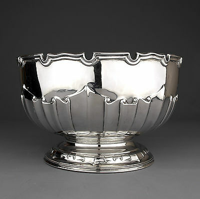 Antique Edwardian Solid Sterling Silver Punch Bowl, Harrison Bros., London 1911