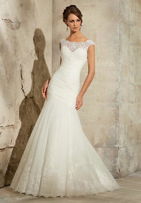 New White/Ivory Mermaid Wedding Dress Bridal Gown Custom Size:6 8 10 12 14 16+