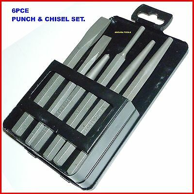 PUNCH & CHISEL SET 6pce IN STEEL CARRY BOX - BRAND NEW.