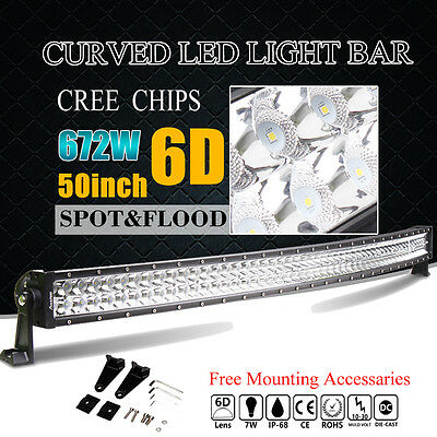 6D 50inch 672W CREE LED Light Bar Flood Spot Curved Work Offroad Driving 52 Lamp