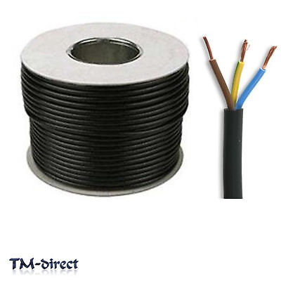 3183Y 3 Core 0.75mm Round Black Mains Electrical Cable Flex Wire BY THE METER