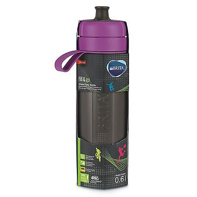 BRITA fill&go Active Water Filtration Bottle 0.6L with 1 MicroDisc Filter Purple