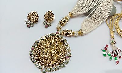 Indian Bollywood Ethnic Antique Gold Plated Temple Pendant Necklace Earring Set