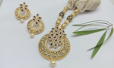 Indian Bollywood Ethnic Antique Gold Plated Pearl Pendant Necklace Earring Set