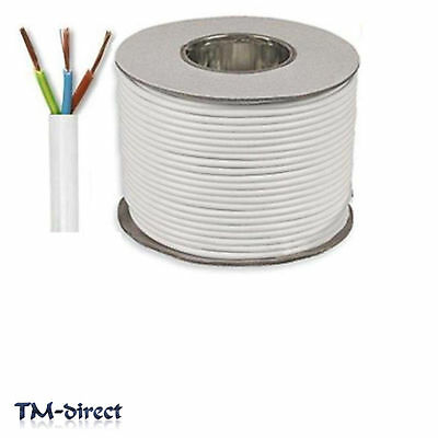 3183Y 3 Core 1mm Round White Mains Electrical Cable Flex Wire BY THE METER