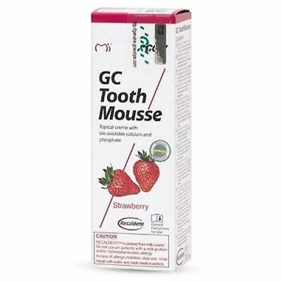 Gc Tooth Mousse Strawberry Topical Tooth Cream With Recaldent 1 Tube Of 40 Gm
