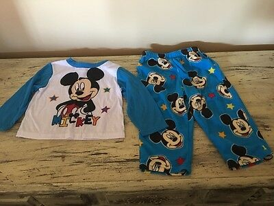 Infant Boys Lot 2 Pajamas Mickey Mouse Red Blue Size 24 Months