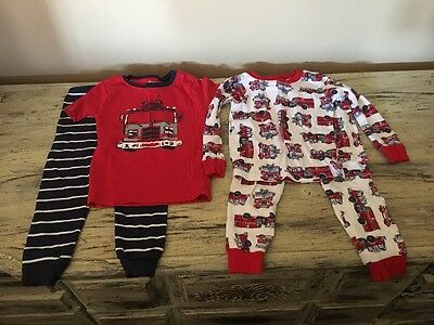 Infant Boys Lot 2 Pajamas Sets Fire Trucks Firefighters Size 24 Months Carters