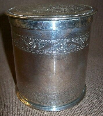 ** Antique Sterling Silver Chinese Tea Caddy **