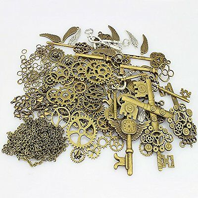 LolliBeads 230 Gram Antiqued Bronze/Silver Metal Skeleton Keys and Wings Bron...