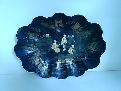 Antique French Black Basket Napoleon Iii Paper Mache Painted