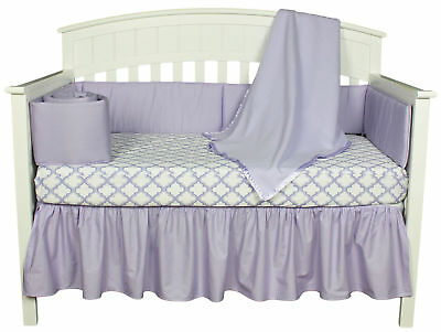 Lavender/Purple and White Ogee 4 Piece Baby Girl Crib Infant Bedding with Bumper