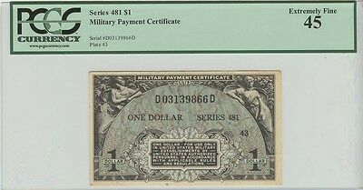 $1 Military Payment Certificate Series 481  PCGS XF45 Extremely Fine