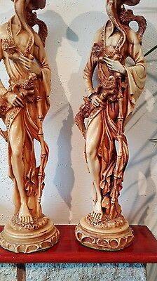 Pair of Vintage Chinese Resin Male Figure Statues With Peacocks 18""