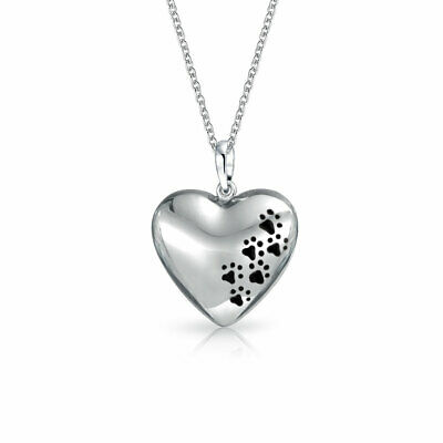 Black Enamel Paw Print Heart Pendant Sterling Silver Necklace 18 Inches