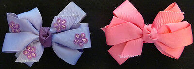 "LOT 2 BARRETTE PINK PURPLE GIRLS RIBBON HAIR CLIP BOW EASTER 4"" WIDE Bows"