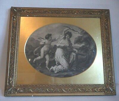 Cupid Disarmed by Euphrosine (after Angelica Kauffman) Print Engraving.