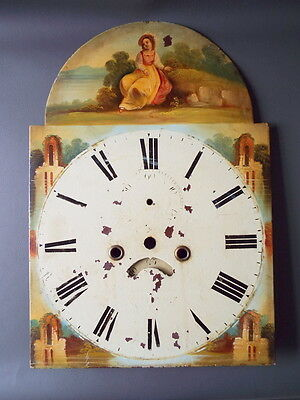 Antique painted longcase grandfather clock dial with date wheel