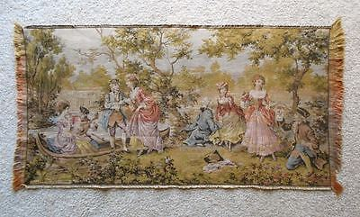 Vintage Tapestry 18th Century Rural Scene 4 Couples Lute Canoe MADE IN BELGIUM