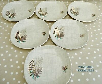 6 J & G Meakin 'Rock Fern' Tea Plates - Fab Condition