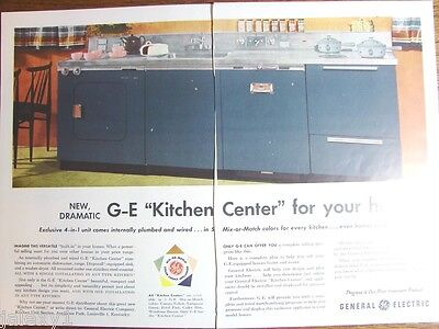 1955 GE General Electric KITCHEN Center Cabinet Range Washer BLUE Retro VTG Ad