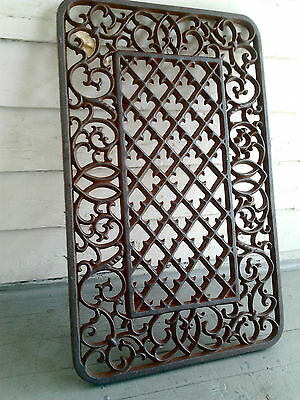 Heavy Iron Floor Mat Grate Ornate Morning Glory Flower Garden Fence Panel Gate