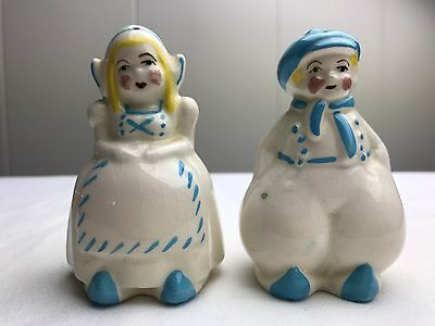 Vintage Cute Dutch Boy and Girl White and Light Blue Salt & Pepper Shakers
