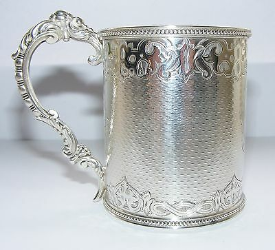 VICTORIAN QUALITY STERLING SILVER CHRISTENING MUG by GEORGE ADAMS. London 1861