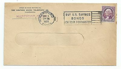 Western Union Telegraph Co - Hartford Conn - 1935 Cover Envelope