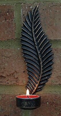 Leaf Wall Sconce Black and Copper Metal Tea Light Holder Shabby Chic Vintage New