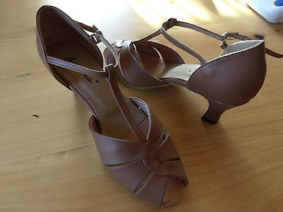 Women's Real Leather Heels Sandals Latin With T-Strap Dance Shoes Size 7 1/2