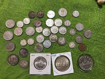 Assorted U K And Canadian Silver 1936 9 Dollars Quarters Dimes Nickels Asst Lot