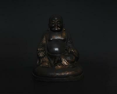 Antique Rare Chinese Old Bronze Carved Statue Buddha Maitreya s95