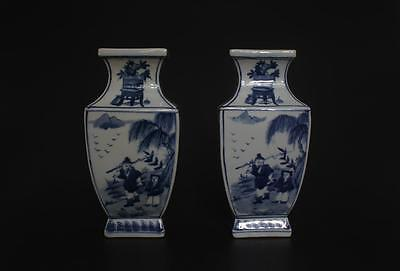 Superb Antique Pair Chinese Porcelain Blue And White Vases Kangxi Marked s129