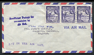 BRITISH GUIANA: (1738) Insufficient Postage for Air Mail cancel/cover