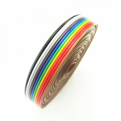 NEW 1.27mm Spacing Pitch10 WAY 10P Flat Color Rainbow Ribbon Cable Wiring Wire