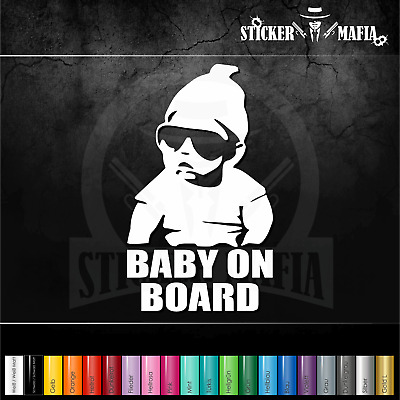 A3W# Aufkleber Baby on Board Kind an Bord Hangover Sticker Auto Tuning Weiss