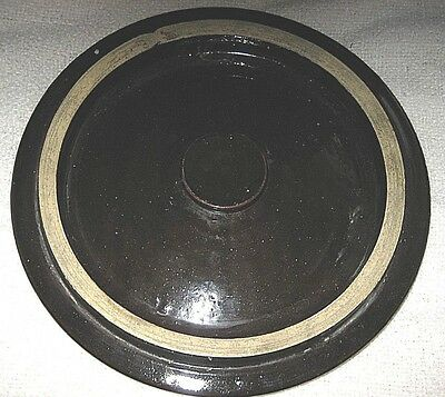 "Vintage 11.5"" Diameter Dark Brown Stoneware Crock Lid"