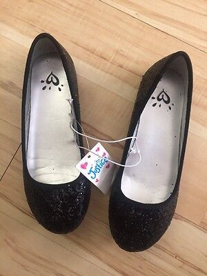 NWT Girls Justice Black Glitter Flats! Sparkly Shoes! Size 1, New!!