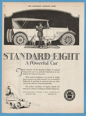 1920 Standard Steel Car Pittsburgh PA Eight Vintage Automobile Dogs Art Print Ad
