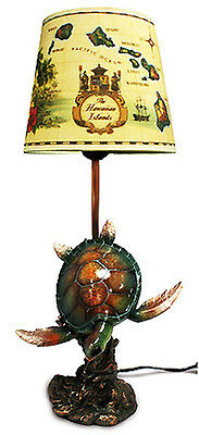 "Hawaiian Hand Painted Hula Lamp Honu Poly Resin Base Islands Fabric Shade 18"" NB"