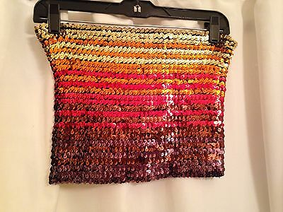 Vintage Offspring Brand 1970's Sequin Tube Top Browns Coppers Reds Oranges Golds