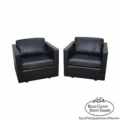 Mid Century Modern Style Pair of Black Leather Club Chairs by Metro
