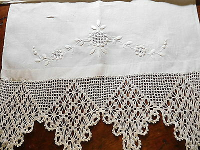 "4-2017-Beautiful White Embroidery & Crocheted Runner-17X54-7"" Lace-Lqqqqkiee"
