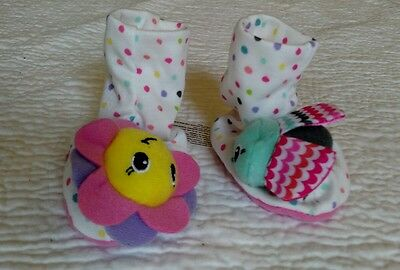 NWOT Infantino Flower & Rainbow Bug Foot Rattles 0-3 Months Baby Infant botties