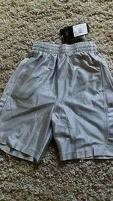 Adidas Dazzle Basketball Sports Shorts Size 24 Boys In Ice Grey /silver New