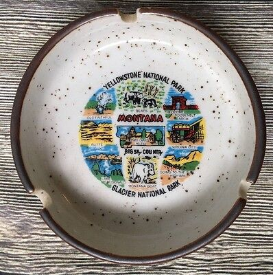 Vintage Montana Souvenir Ashtray Speckled Stoneware Yellowstone Glacier Park